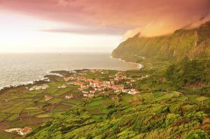 Sonnenuntergang über Faja Grande, Flores, Azoren, Portugal