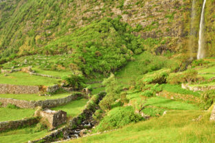 Wasserfall Poco de Bacalhau, Flores, Azoren, Portugal