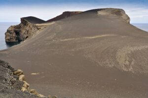 Aschewüste des 1957 ausgebrochenen Vulkans Capelinhos, Faial, Azoren, Portugal