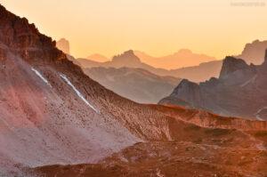 Sonnenuntergang in den Sextner Dolomiten, Südtirol, Italien