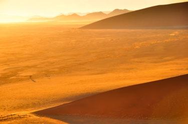 Sonnenaufgang über Dünenfeld, Sossusvlei, Namib-Naukluft-Nationalpark, Namibia