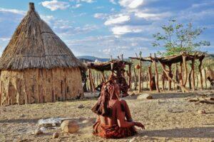 Himba-Siedlung im Kaokoveld, Kunene, Namibia
