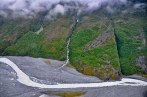 Gletscherfluss, Fox Gletscher, Westland Nationalpark, Neuseeland