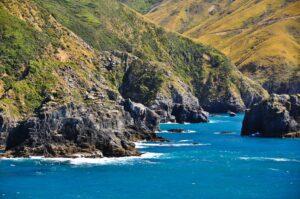 Zerklüftete Küsten in den Marlborough Sound, Neuseeland