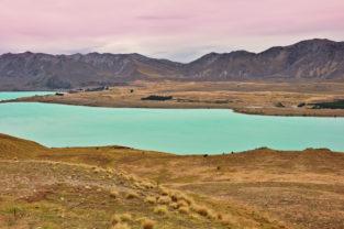 Lake Tekapo vom Cowans Hill, Mackenzie-Distrikt, Canterbury, Neuseeland