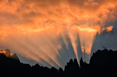 Dolomiten: Sonnenaufgang am Rosengartenmassiv, Südtirol, Italien