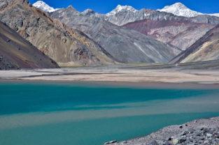 Gletschersee in den Anden, Embalse el Yeso, Región Metropolitana, Chile