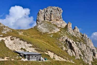 Hütte in den Dolomiten, Südtirol, Italien