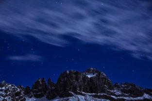 Nacht über dem Rosengarten, Tiers, Südtirol, Dolomiten, Italien