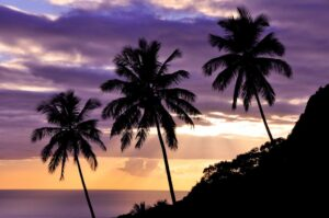Palmenstrand bei Soufriére, St. Lucia, Karibik