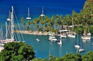 Marigot Bay, Schauplatz für Dr. Doolittle-Verfilmung, St. Lucia, Karibik