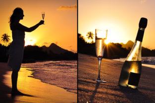 Frau mit Drink an tropischen Strand bei Sonnenuntergang, Carriacou, Grenada, Karibik