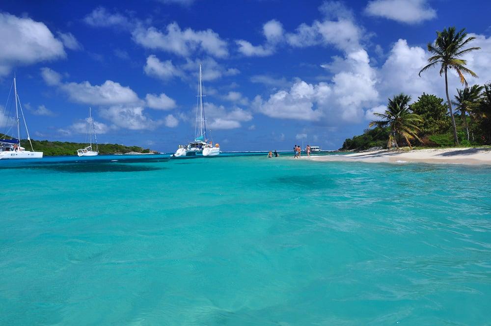 Karibik 34 Palmenstrand Auf Der Insel Petit Rameau Tobago Cays