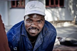 Bauarbeiter in Kapstadt bei den WM-Vorbereitungen, Südafrika