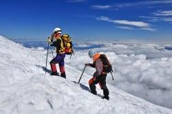 Bergsteiger auf dem Villarica, Región de la Auracania, Patagonien, Chile