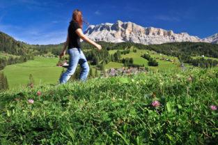 Wandern auf der Alm, Dolomiten, Südtirol, Italien