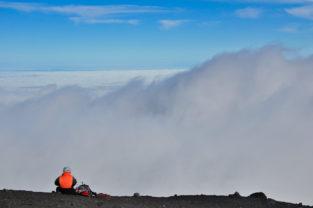 Bergsteigerin auf dem Villarica (2.840 m), Patagonien, Chile