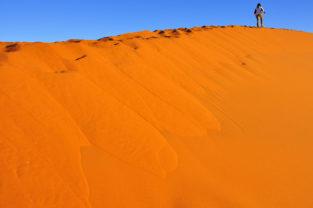Klettern auf Sanddünen im Sossusvlei, Namibia