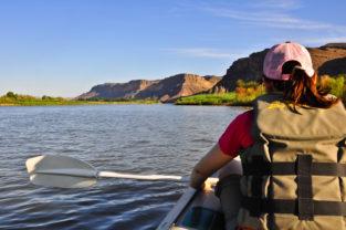 Paddeln auf dem Orange River, Südafrika