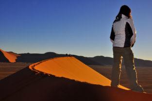 Sonnenaufgang über Dünenfeld, Namibwüste, Namibia