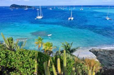 Strand und Riff der Insel Jamesby, Tobago Cays, Grenadinen, Karibik