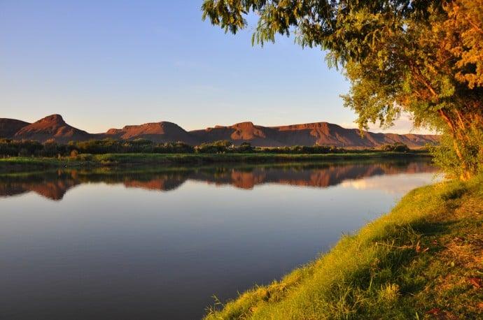 Sonnenuntergang am Orange River, Western Cape, Südafrika