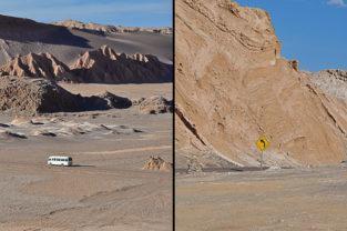 Bus im Valle de la Luna, Atacama, Chile