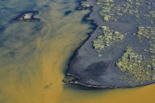 Inseln in farbigem Fluss, Südküste, Island