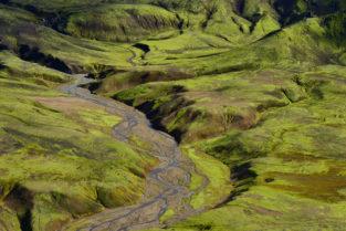 Mäandernder Fluss, Hochland, Island