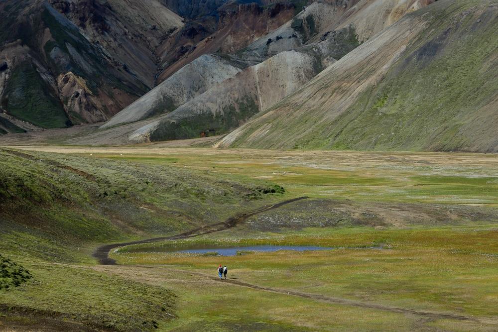Wanderer im Landmannalaugar, Hochland, Island