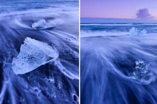 Eis am schwarzen Vulkanstrand, Island