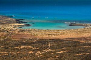 Vulkaninsel Isla de la Lobos, Blick vom Krater Montaña La Caldera, Fuerteventura