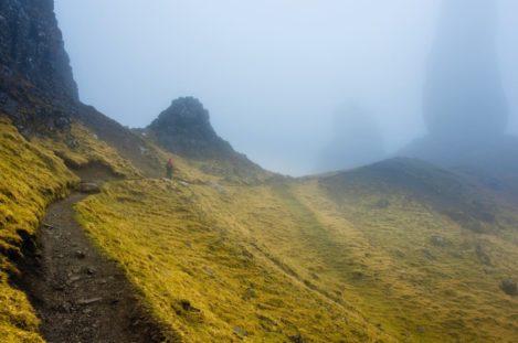 Nebelwanderung, Old man of Storr, Isle of Skye, Schottland