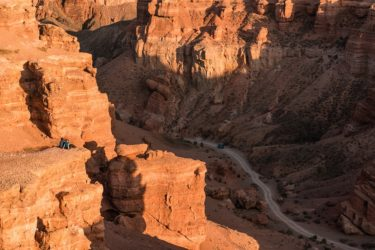 Wanderer am Sharyn Canyon, Kasachstan