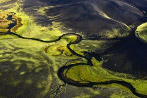 Fluoreszierende Landschaft im Hochland, Island
