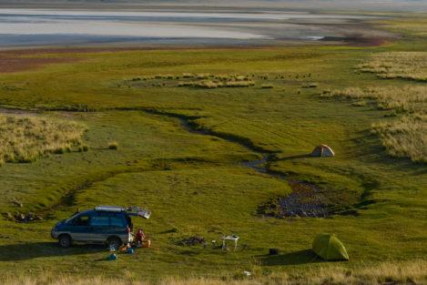 Camping in der Steppe, Kasachstan