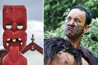 Maori-Krieger nahe Roturua, Nordinsel, Neusseeland