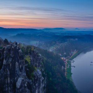 Elbblick von der Bastei, Rathen, Elbsandsteingebirge, Sächsische Schweiz