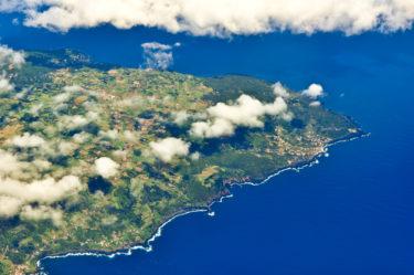 Luftaufnahme von der Insel Pico, Azoren, Portugal