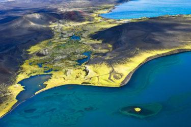 Insel in Kratersee, Veidivötn, Island
