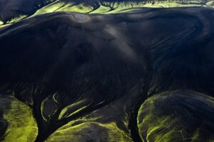 Neonfarbene Berge, Fjallabak, Luftbild, Island
