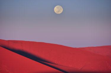 Mondaufgang im Sossusvlei, Namibia