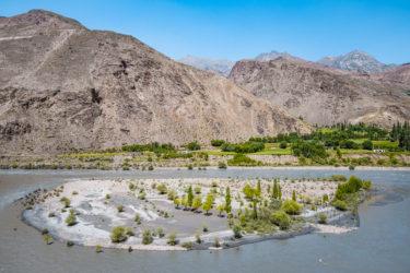 Insel im Panj, Tadschikistan, Afghanistan