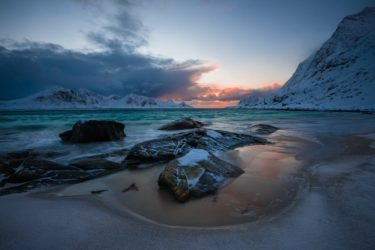 Strand Haukland Beach, Vestvågøy, Lofoten, Norwegen