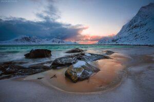 Lofoten 006 Strand Haukland Beach, Vestvågøy| Norwegen, Landschaftsfotografie, Bilder, Fotos, Landschaften, Winter