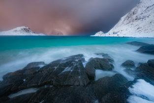 Lofoten, Strand, Winter, Haukland Beach, Vestvågøy, Norwegen, Landschaftsfotografie, Bilder, Foto, Landschaften