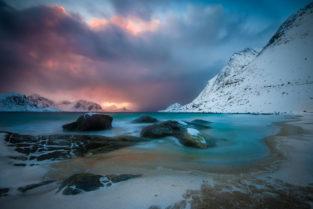 Lofoten, Strand Haukland Beach, Vestvågøy, Norwegen, Landschaftsfotografie, Bilder, Fotos, Landschaften, Winter
