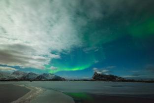 Lofoten, Polarlichter, Aurora Borealis, Nordlichter, See, Hoevn, Winter, Landschaft