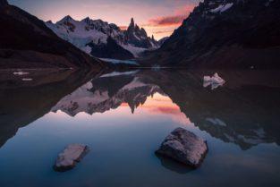 Patagonien, Gletschersee Laguna Torre und Mount Cerro Torre, Los Glaciares. Nationalpark, Argentinien