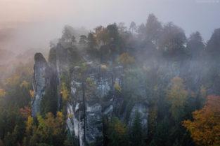 Elbsandsteingebirge Landschaft: Basteifelsen im herbstlichen Morgennebel, Rathen, Sächsische Schweiz
